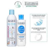 Bộ Xịt khoáng Evoluderm Atomiseur Eau Pure 400ml và Sữa tẩy trang Evoluderm Lait Démaq' Doux Hydratant 250ml