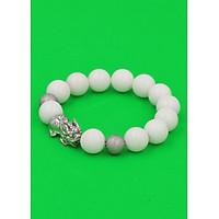 Vòng tay Tỳ hưu inox trắng - Chuỗi đá san hô trắng 12 ly  VSHTTHHBT12