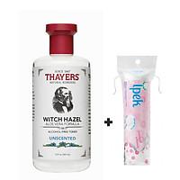 Nước hoa hồng THAYERS Alcohol-Free Unscented Witch Hazel Toner 355ml + Tặng Túi Bông tẩy trang Ipek 80 miếng