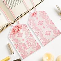 Túi gấm Omamori an khang vĩnh bảo hồng trắng có kèm túi chống nước Túi Phước May Mắn dây treo trang trí
