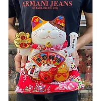 Mèo Thần Tài tay vẫy Niên Niên Hữu Dư mẫu 02 (tặng kèm túi 50 xu vàng mini)