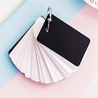 100 Thẻ flashcard trắng bo góc siêu dày 5x8cm + khoen + 2 bìa cứng 3D(bìa giao màu ngẫu nhiên)