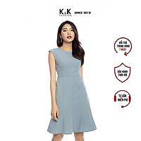Đầm Đuôi Cá Dáng Chữ A K&K Fashion KK106-03 Màu Xanh Sát Nách Chất Liệu Đũi