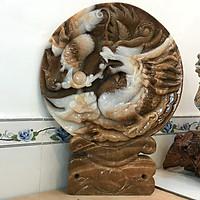 Rồng nhả ngọc đĩa rồng vật phẩm phong thủy quà tặng cao cấp cho gia đình thịnh vượng đường kính 52 cm cân nặng 55 kg ngọc canxide của Việt Nam.DK52Cmx55kgx68