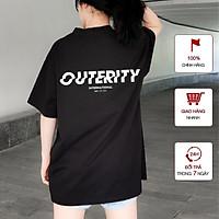 Áo thun unisex WinBeen dáng rộng tay lỡ 2 màu cơ bản đen trắng vải cotton mát in chữ Outerity hot trend