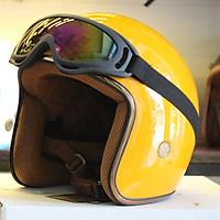 Mũ Bảo Hiểm 3/4 SRT Vàng cam bóng Lót Màu Cao Cấp + Kính Chống Bụi, Chống Nắng (Màu ngẫu nhiên)