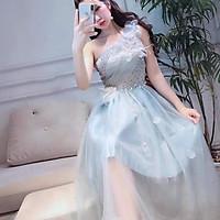 Đầm xoè dự tiệc lệch vai TRIPBLE T DRESS - size M/L (kèm ảnh/video thật) MS149V