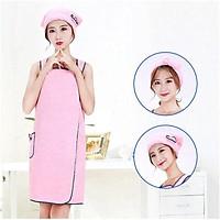 Bath Skirt Coral Fleece Bath Towel Shower Cap Hair Band Set Soft Strong Absorbent Adult Female Sense Suspender Bath Skirt