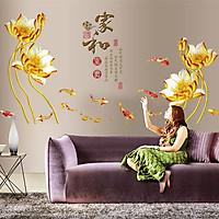 Decal dán tường hoa sen vàng kích thước lớn sang trọng