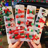 Set 5 kẹp tóc Noel đủ họa tiết đáng yêu màu xanh đỏ chủ đạo thoải mái phối đồ đi chơi Giáng sinh – NOEL004
