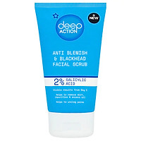 Tẩy da chết Superdrug Deep Action 2% Salicylic Acid Anti Blemish & Blackhead Facial Scrub 150ml