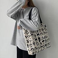 Túi tote vải canvas phong cách Hàn quốc, có khóa miệng ngăn phụ bên trong tiện dụng-Haka store