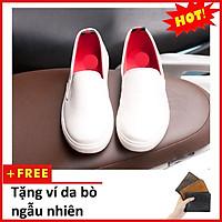 Giày Slip On Nam Aroti Đế Khâu Chắc Chắn Phong Cách Đơn Giản Màu Trắng - M498-TRANG(V)-TRANG
