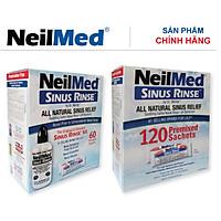 Combo Adult: Bộ Rửa, Chăm Sóc Vệ Sinh Mũi Xoang Người Lớn NeilMed Sinus Rinse - SX Mỹ(Bình + 60 gói muối và 1 Hộp 120 gói muối rửa bổ sung)