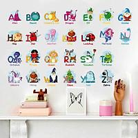 Sticker Decal dán tường 24 CHỮ CÁI VÀ TỪ VỰNG TIẾNG ANH - XH6221