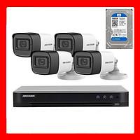Trọn bộ 4 Camera HIKVISION tích hợp MIC thu âm DS-2CE16D0T-ITFS hồng ngoại 2.0M - Hãng chính hãng