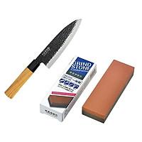 Set 01 Dao làm bếp Sumikama cán gỗ, lưỡi bằng Titanium cao cấp + 01 Đá mài dao kéo 2 mặt - Nội địa Nhật Bản