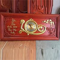 Tranh đồng hồ gỗ Hương đỏ chữ Lộc mạ vàng cao cấp (48 x 108 ) dày 3cm