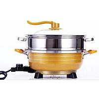 Chảo điện đa năng Matika MTK-9032 (màu vàng) - Hàng Chính Hãng