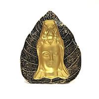 Tượng Đá Phật Quan Thế Âm 3D Lá Bồ Đề - Màu Nhũ Vàng