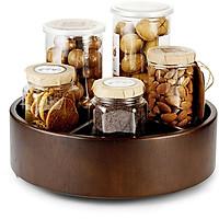 Khay đựng mứt tết, bánh kẹo, hũ gia vị bằng gỗ, XOAY 360, đa năng nhiều ngăn