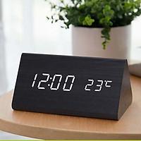 Đồng hồ gỗ FAKEN LED để bàn hình tam giác tiện dụng, đa chức năng trang trí phòng hiện đại - Tặng kèm pin.