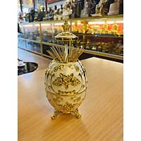 Lọ Đựng Tăm Bằng Đồng Mạ Vàng cao 16cm