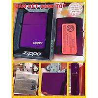 Bật Lửa, hộp quẹt Zippo Màu Tím Trơn- Logo- Có Tem đỏ