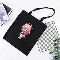 Túi tote vải đeo vai đen in hình YAE MIKO game GENSHIN IMPACT anime chibi dễ thương cá tính