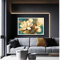 Tranh Canvas Sơn dầu Hoa Hồng bạch cao cấp. (Bộ 1 bức), Khung hợp nhôm chống ẩm, bền, đẹp, nhiều kích thước. Phù hợp nhiều không gian sang trọng.