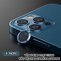 Tặng hộp đựng lens cao cấp - Vòng kim loại titan bảo vệ lens camera dành cho các dòng iphone 11 / iphone 12 - Xanh Pacific