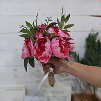 Bó hoa giả cầm tay chùm hoa Trà bông lớn
