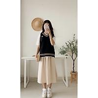 Chân váy nữ dáng dài phong cách hàn quốc phom suông có túi 3 màu chất đũi