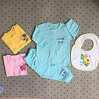 Combo 3 bộ quần áo sơ sinh - Mẫu tay dài cài nút giữa màu Thái Hà Thịnh 3THT-BTDCGM ( tặng kèm 1 yếm ăn dặm tomtom baby)
