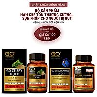Bộ sản phẩm nhập khẩu chính hãng giúp hạn chế tổn thương xương sụn khớp cho người bị gut: Viên gout New Zealand GO CELERY 16000mg và viên uống bổ xương khớp New Zealand GO GLUCOSAMINE 1-A-DAY 1500mg