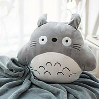 Thú Bông, Combo Mền Gối Ngủ Văn Phòng Tiện Lợi Totoro Tròn Màu Xám Siêu Mịn 1.1x1.7m