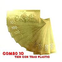 Combo 10 tờ lưu niệm 100 hình con Trâu, chất liệu nhựa plastic mạ một lớp màu vàng, dùng để trang trí trong nhà, làm tiền lì xì dịp Tết Tân Sửu 2021, treo trên cây mai, bỏ vào túi xách - SP005094