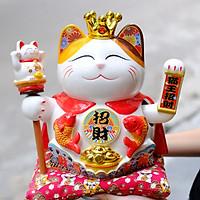 Mèo Thần tài Vương miện Vẫy tay 27cm Mã 5011 - Song Ngư