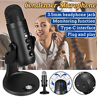 Professional USB Condenser Microphone Mic Kit 66db Noise Reduction Type-C &3.5mm Interface For Recording Studio PC Game Chat
