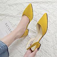 Giày gót thấp mũi nhọn phối chất liệu da lộn phong cách thời trang dành cho nữ