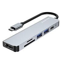 Anwintek 6-in-1 Type-C Hub to HD 4K@30Hz+SD+TF+USB 2.0+USB 3.0 640MB/s+PD Charging Port 87W Screen Mirroring OTG