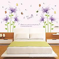 Decal dán tường phòng ngủ trang trí spa combo đôi hoa tím sang trọng và lãng mạn