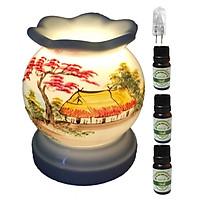 3 tinh dầu quế Eco 10ml và đèn xông tinh dầu MNB12 và 1 bóng đèn
