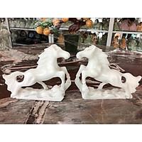 Tượng Cặp Ngựa phi phong thủy rước công danh tài lộc đá cẩm thạch trắng trang trí phòng khách, bàn làm việc - Dài 20 cm