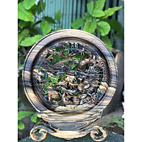Tran Đĩa Tứ Linh phong thủy gỗ Mun Hoa hàng cực đẹp tinh xảo