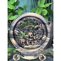 Tranh đĩa Tứ Linh gỗ Mun Hoa hàng đục tay cực kì tinh xảo, sắc nét ( Đĩa 30cm)