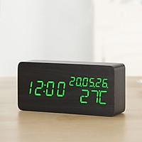Đồng hồ giả gỗ LED LAPEN hình chữ nhật để bàn độc đáo, tiện dụng đo thời gian, ngày tháng, nhiệt độ phòng - Kèm pin.