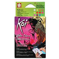 Bộ Màu Nén Nhũ Sakura Koi Pocket Filed CAC 12 Màu Kèm Cọ