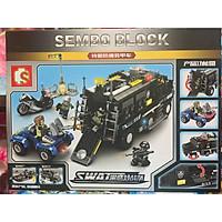 Bộ lắp ráp Lego SWAT Xe thiết giáp đặc chủng chống khủng bố Sembo 102438 với 705 chi tiết