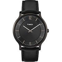 Đồng hồ Nam Timex Men's Black Leather Strap Watch TW2R50100MK  - 40mm